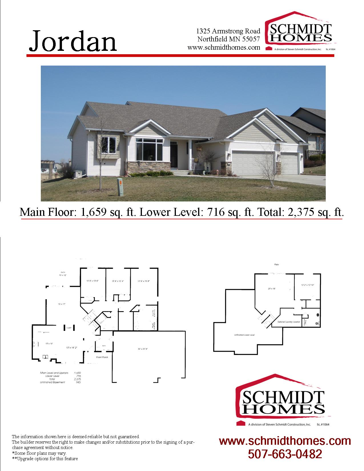 Jordan schmidt homes for Jordan built homes floor plans