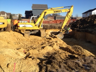 New Home Construction foundation dig 4