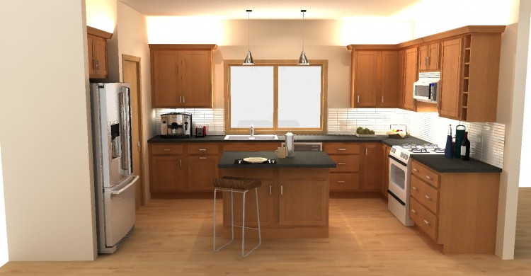 Model Kitchen Rendering, Northfield, New Home, Cabinetry