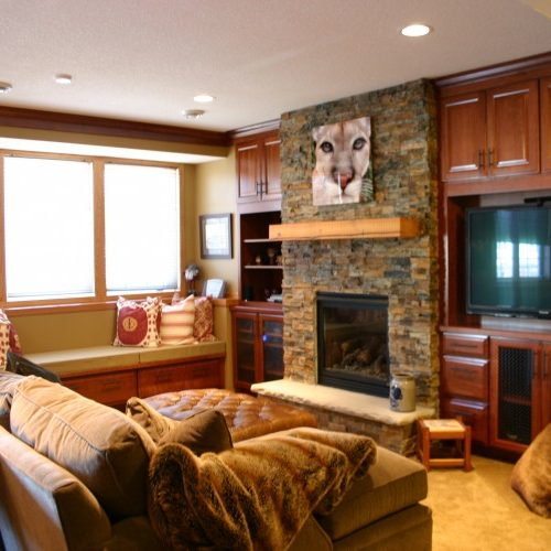 Townhome Basement Remodel, fireplace surround, entertainment center, cabinetry